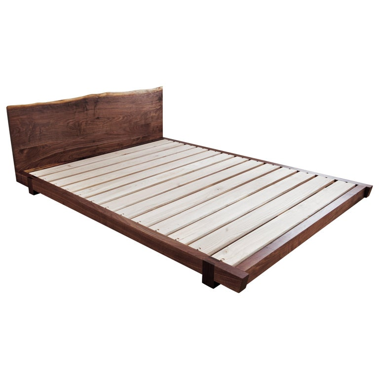 Black Walnut Perri Bed Queen-sized with Sustainable Live-edge Slab Headboard For Sale