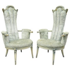 Pair Vintage High Back Hollywood Regency Style Blue Painted Fireside Armchairs