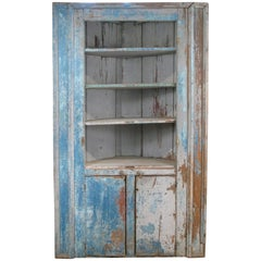 Antique 19th Century Painted Country Corner Cupboard