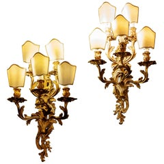 Pair of 19th Century Louis XV Style Gilt Bronze Five Arms French Sconces, 1890s