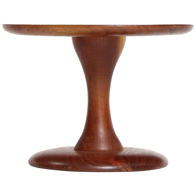 Craftsman Walnut Turned Pedestal or Stool For Sale
