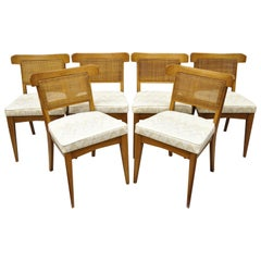 Set 6 Curved Cane Back Walnut Mid-Century Modern Dining Chairs Tomlinson Style