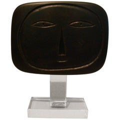 Mid-20th Century Painted Wood Face Sculpture 1950s Signed L.N