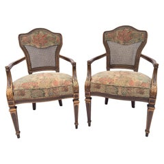 Heritage Cane Back Floral Tapestry Arm Chairs