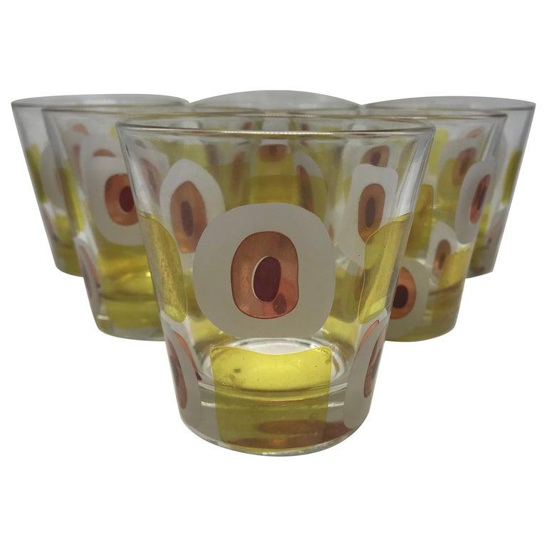 b56bdee7fe3 Set of Six Mid-Century Modern Italian Glasses For Sale at 1stdibs