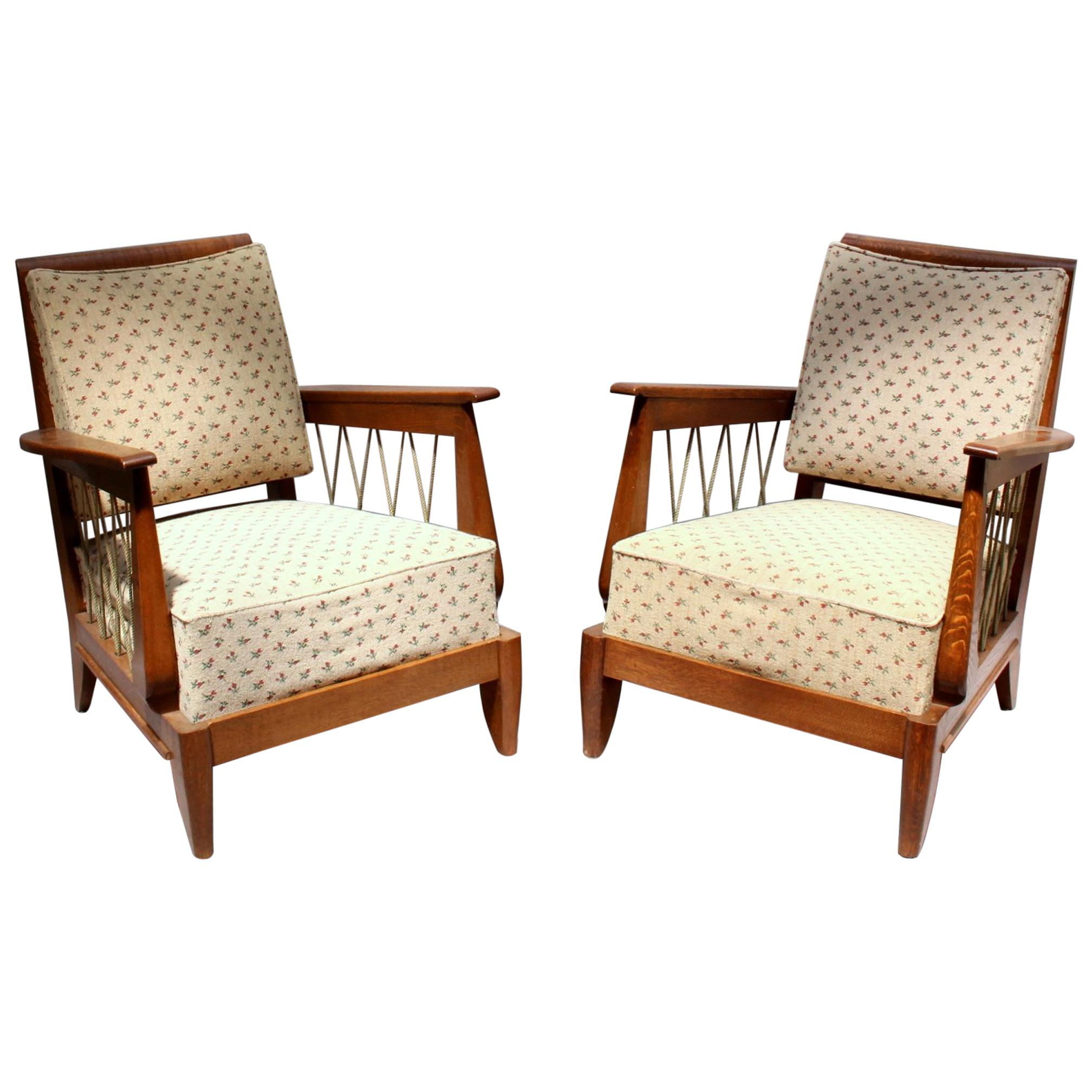Pair of Fine French 1950's Oak Armchairs with Rope Details