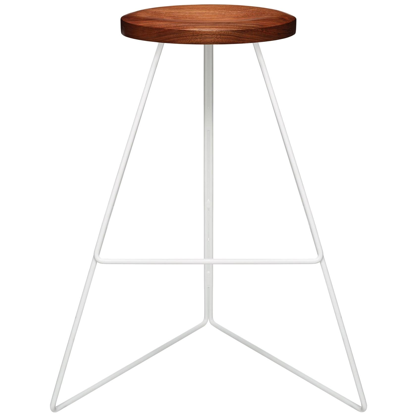 The Coleman Stool - White and Walnut, Bar Height.  54 Variations Available.