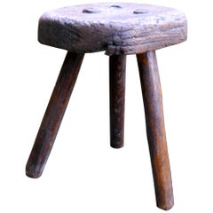 Very Rustic 18th Century Elm Dairy Stool or Milk Maid's Stool