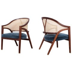 Pair of Dunbar Cane Back Lounge Chairs by Edward Wormley
