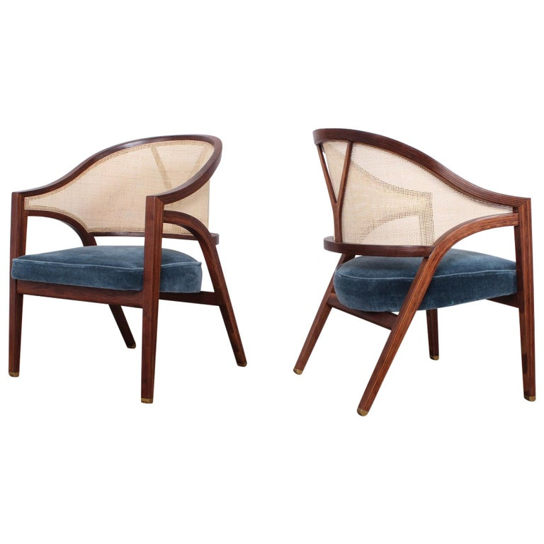 Pair of Dunbar Cane Back Lounge Chairs by Edward Wormley For Sale
