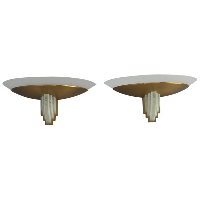 Pair of Fine French Art Deco Bronze Hand Cut Glass Sconces by Jean Perzel For Sale