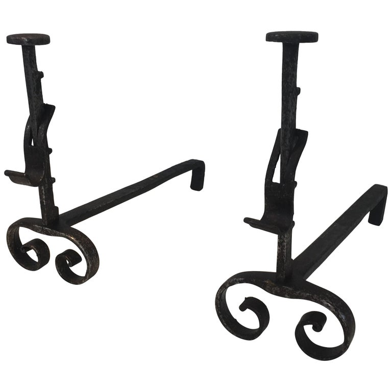 Pair of Forged Wrought Iron Andirons, French, 19th Century For Sale