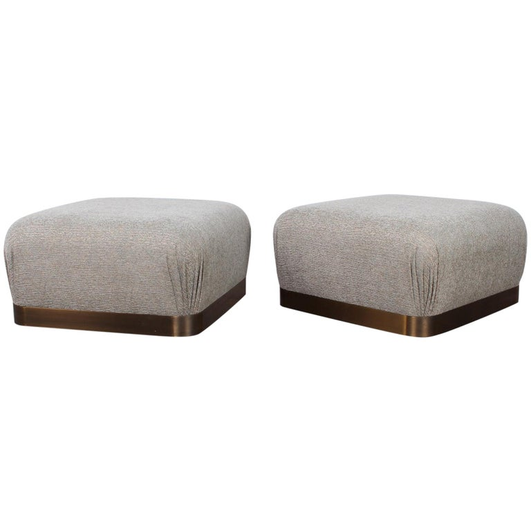 Pair of Karl Springer Souffle Ottomans or Poufs For Sale