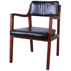 Edward Wormley for Dunbar Riemerschmid Sculpted Walnut and Leather Lounge Chair