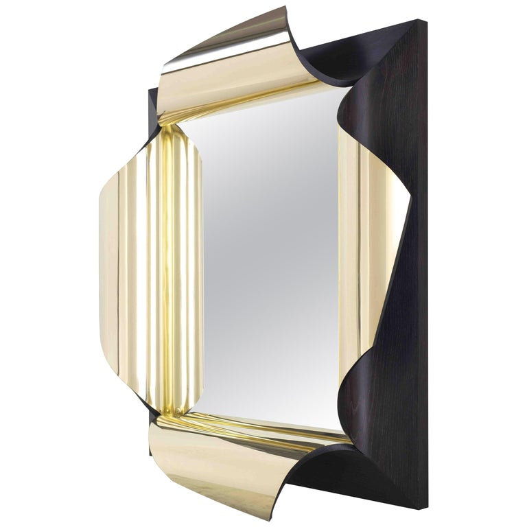 Surrealist Mirror in Polished Brass and Fumed Oak, Salvador by Jake Phipps For Sale