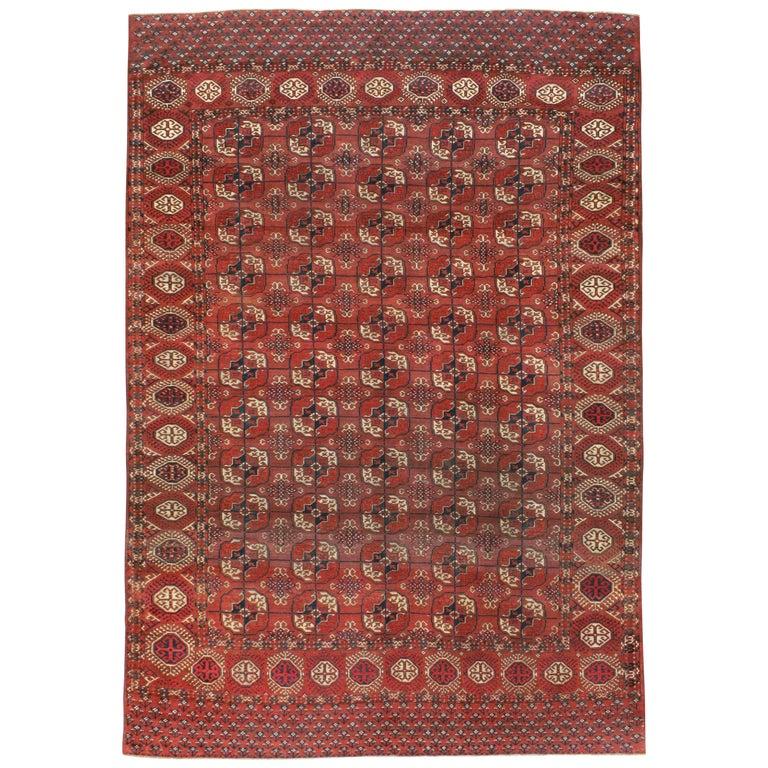 Antique Central Asian Tekke Carpet For Sale