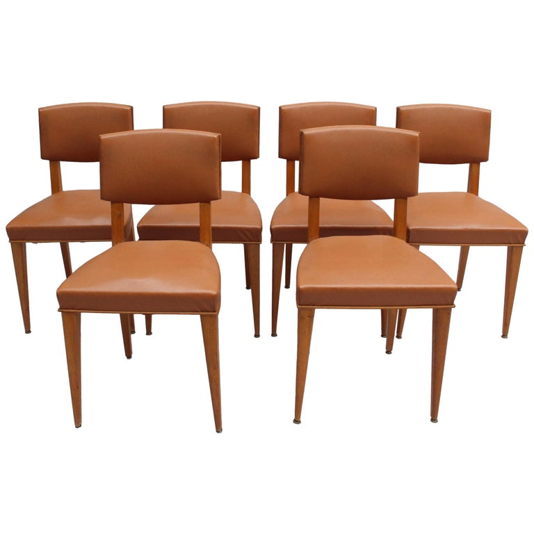 Set of 6 Fine French 1950s Oak Chairs For Sale