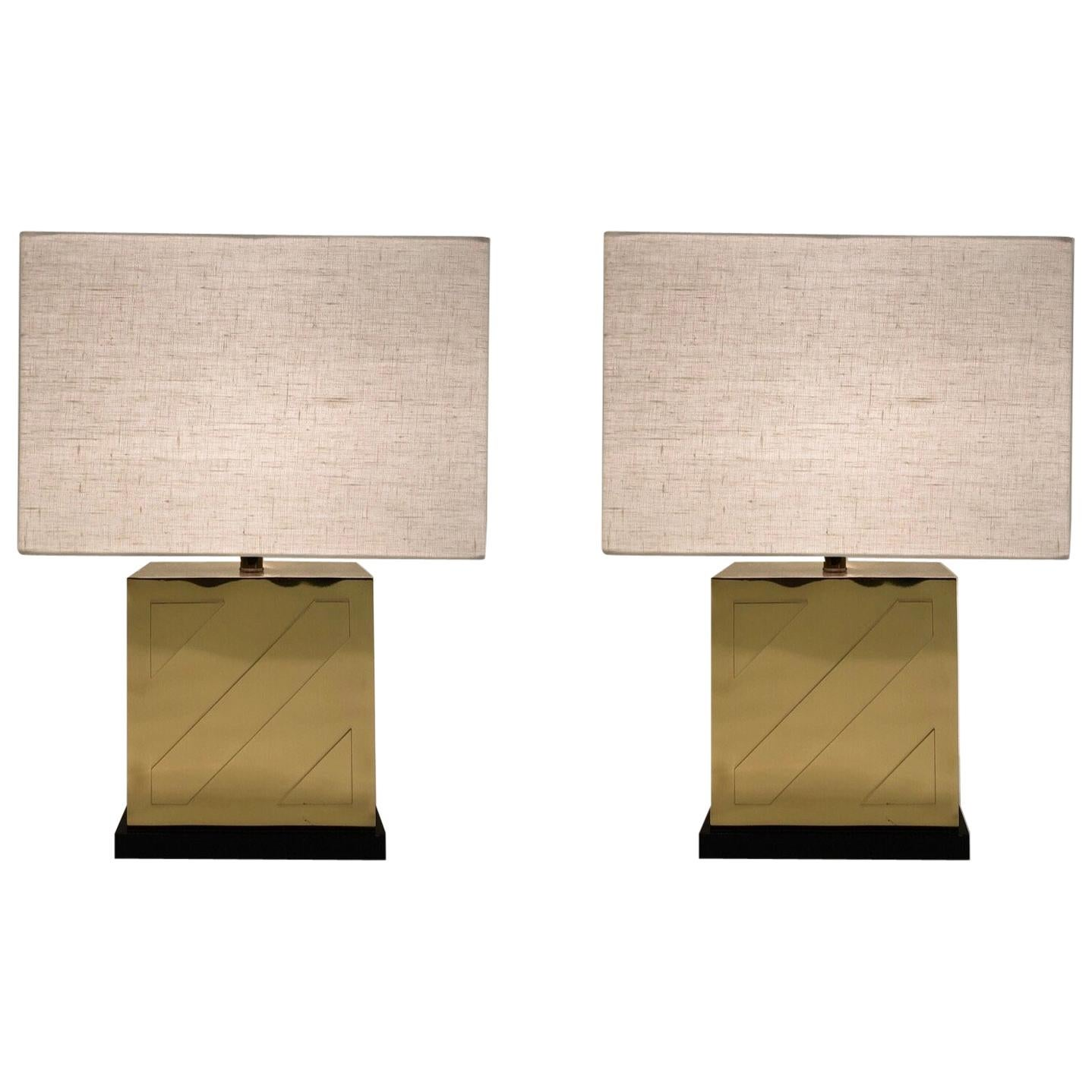 Pair of Polish Brass and Black Lacquer Table Lamps by Chapman