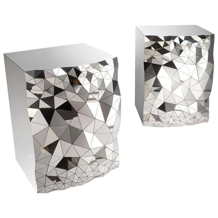 """Geometric Side Cocktail Table in Mirror Polished Steel, """"Stellar"""" by Jake Phipps For Sale"""