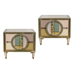 Paar Bemalter Spiegel-Schränke