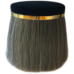 Thing 1 Stool with Horsehair, Brass and Velvet or COM