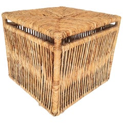 Woven Rattan Rope Weave Cube Footstool