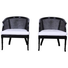 Pair of Hollywood Regency Ebonized Faux Bamboo and Cane Barrel Back Club Chairs