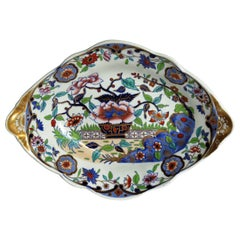 Late Georgian Spode Dish Hand Enamelled and Gilded Pattern 4052, circa 1820