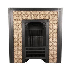 Antique Aesthetic Movement Victorian tiled fireplace insert, by Thomas Jeckyll.