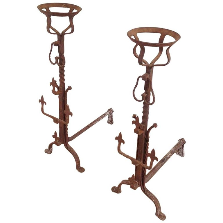 Pair of Tall Gothic Style Wrought Iron Andirons, French, circa 1900  For Sale