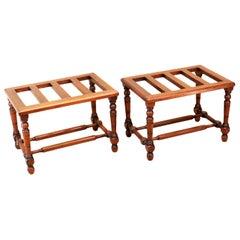 19. Jahrhundert Englisches Paar Antiker Walnuss Gepäckständer