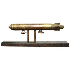 British Folk Art Naive Model of an Airship R101, Brass, Trench Art, 1930s