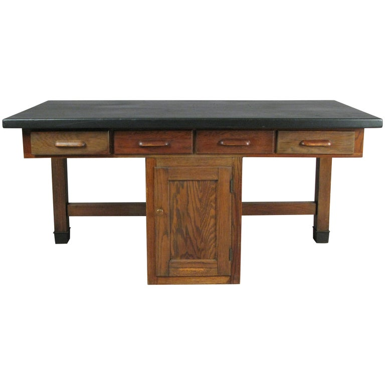 Antique 1940s Oak Lab Desk Table by Welch For Sale