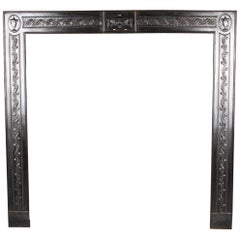 Large Georgian Antique Ornate Cast-Iron Fire Grate Insert, English 19th Century