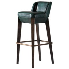 And Objects Chilcomb Bar Stool, Leather Upholstery, Oak and Copper Foot Rail