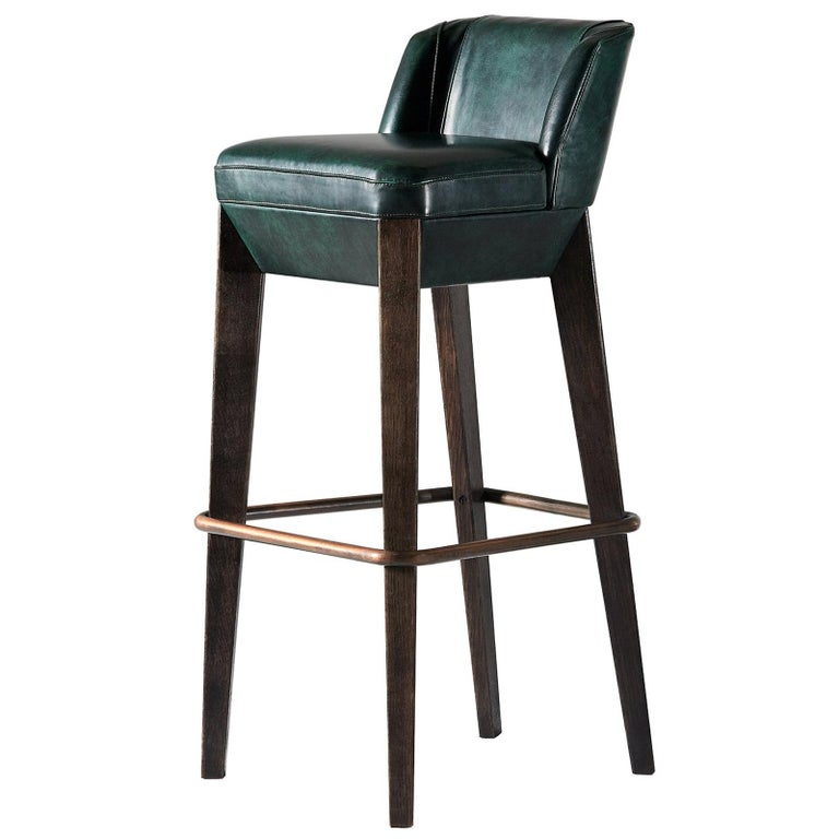And Objects Chilcomb Bar Stool, Leather Upholstery, Oak and Copper Foot Rail For Sale