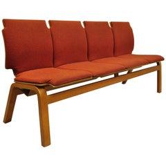 4-Seat Bentwood Mid-Century Modern Bench Banquette by Sauder Designare