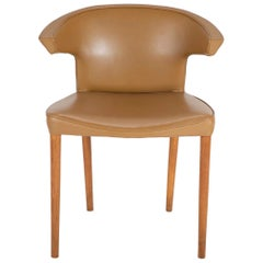 Oak and Leather Upholstered Chair Attributed to Frits Henningsen