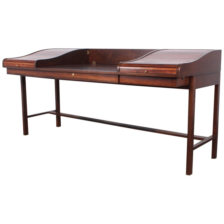 Rosewood Roll Top Desk by Edward Wormley for Dunbar For Sale