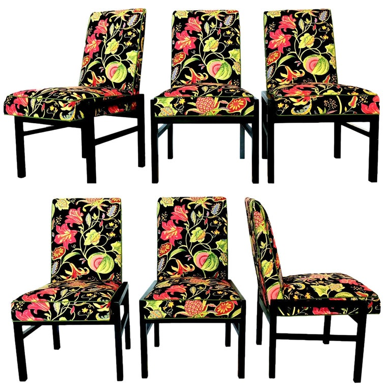 Set Of Six Floral Dining Chairs By Directional For Sale At 1stdibs