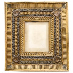 Folk Art Twig and Bark Applied Decorative Picture Frame, 19th Century