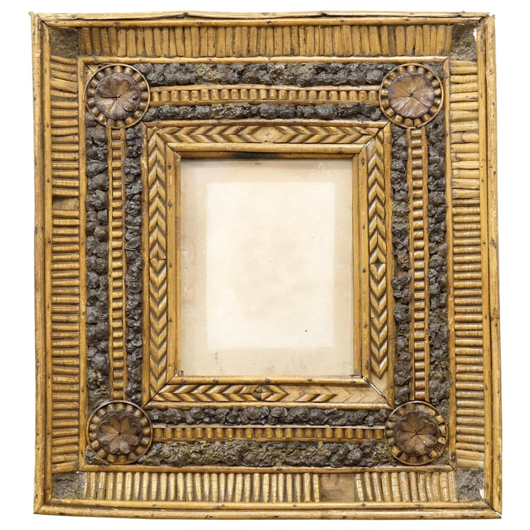 Folk Art Twig and Bark Applied Decorative Picture Frame, 19th Century For Sale