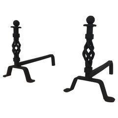 Pair of Twisted Wrought Iron Andirons, French, circa 1940