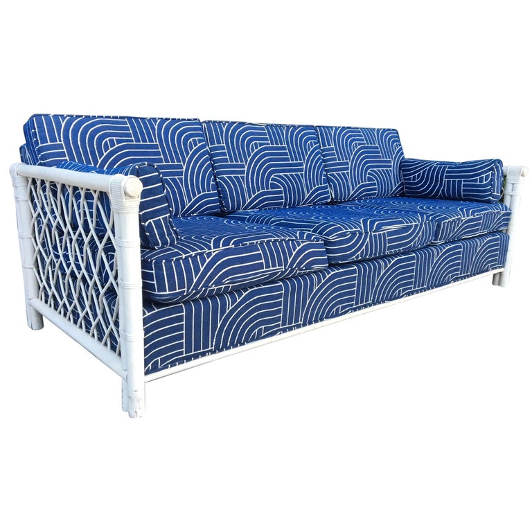 Bamboo Rattan Mid Century Tuxedo Sofa In The Manner Of