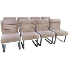 Set 8 Mariani Pace Collection Cantilevered Dining Chairs Mid-Century Modern
