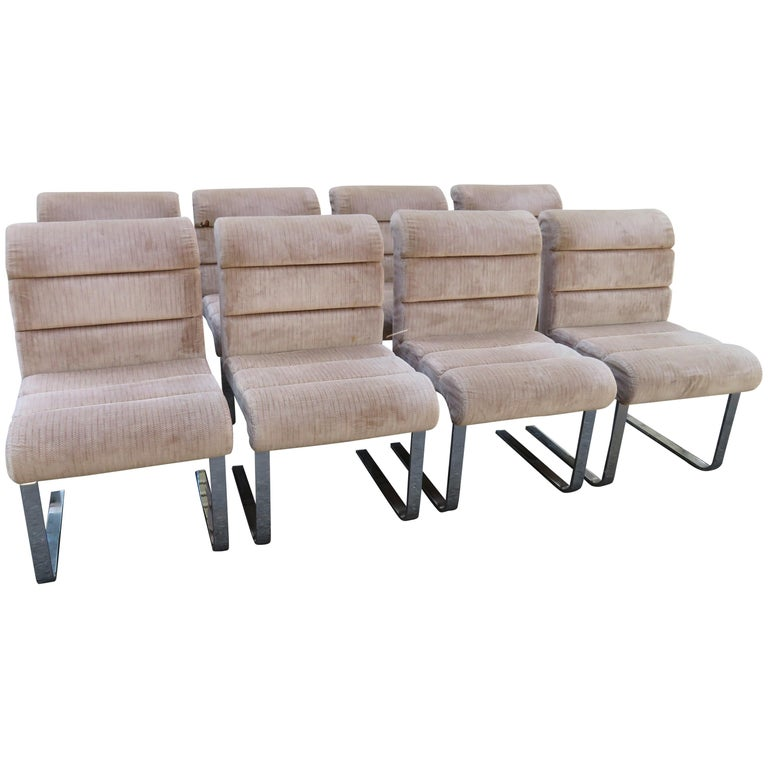 Set 8 Mariani Pace Collection Cantilevered Dining Chairs Mid-Century Modern For Sale