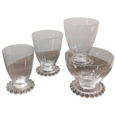 1935 Rene Lalique Set of 32 Drinking Glasses Boules Water Wine Champagne Madere