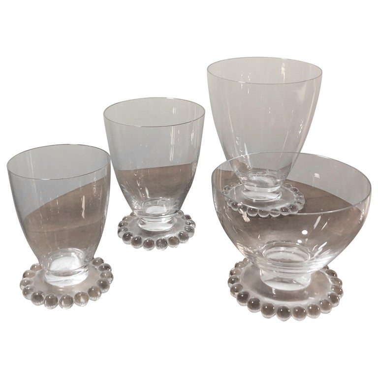 1935 Rene Lalique Set of 32 Drinking Glasses Boules Water Wine Champagne Madere For Sale