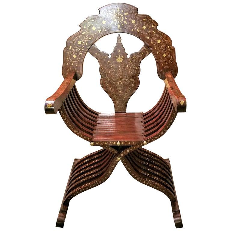Syrian Brass Inlaid Savonarola Chair For Sale