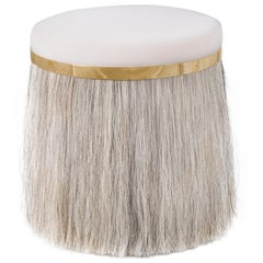 Thing 1 Stool Pouf with Horsehair, Brass and Velvet or COM